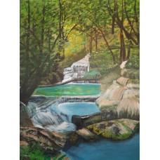 Irvan Falls - Original Acrylic Painting  -18 Inch Height * 14 Inch Width