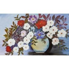 Dahlias - Original Acrylic Painting - 18 Inch Height * 26 Inch Width