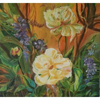 Jungle Flowers Original Acrylic Painting 16 Inch Height * 16 Inch Width