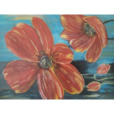 Red Poppies- Original Acrylic Painting  -12 Inch Height * 15 Inch Width
